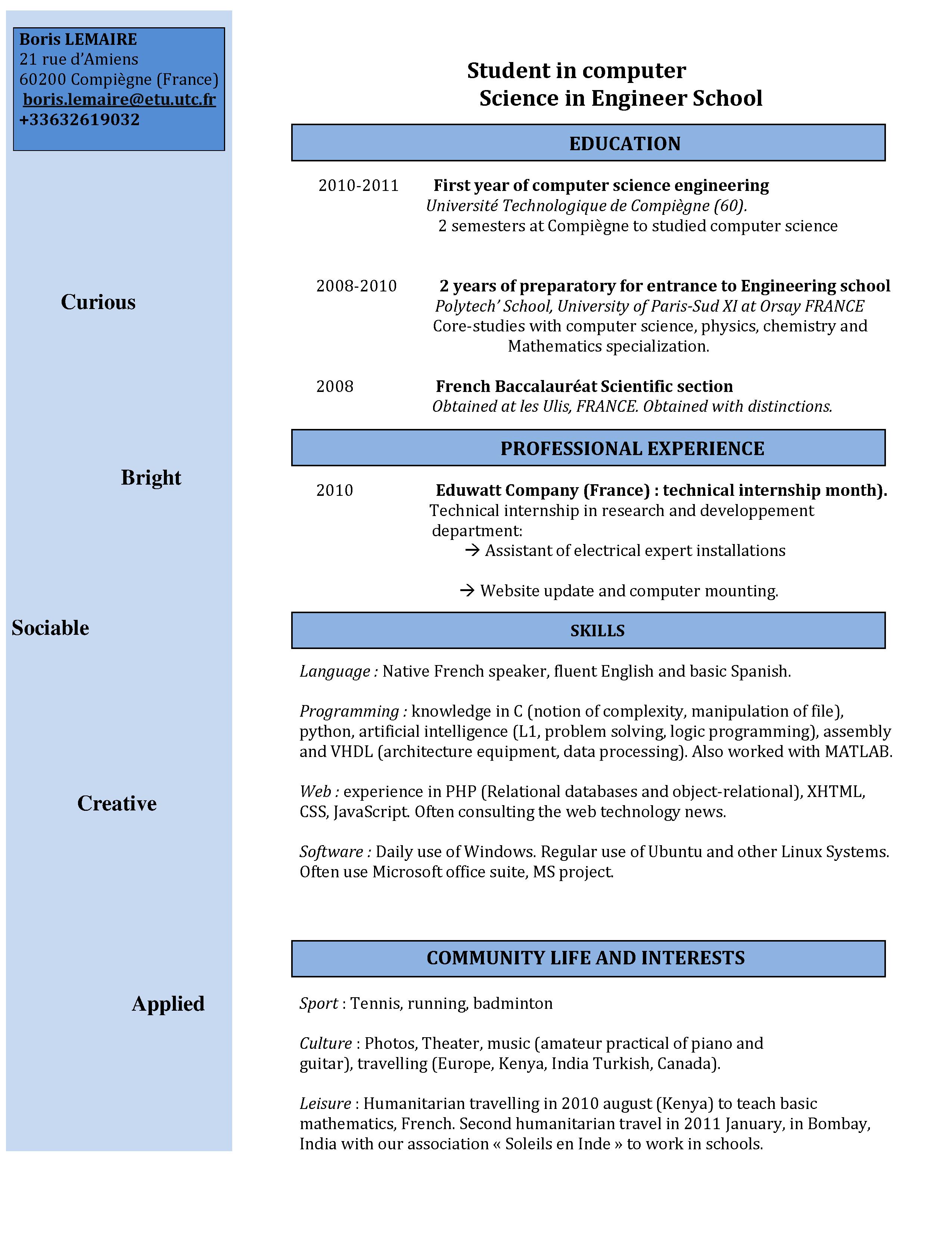 resume format  cv presentation publication
